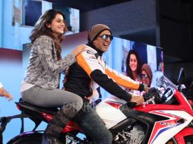 Akshay Kumar and Taapsee Pannu attend a bike launch