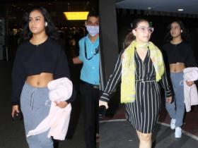 Nysa Devgn flaunts her washboard abs as she gets papped with mom Kajol at the airport; See Pics