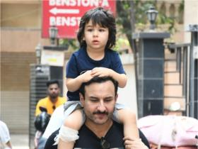 PHOTOS: Taimur Ali Khan looks beyond adorable as he enjoys a piggyback ride on Saif Ali Khan\'s shoulders