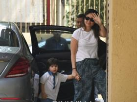 PICS: Kareena Kapoor Khan and Taimur Ali Khan twin in white as they get papped outside Karisma Kapoor\'s house