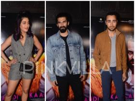 Aditya Roy Kapur, Shruti Haasan and Imran Khan attend the special screening of Saif Ali Khan's Kaalakaandi