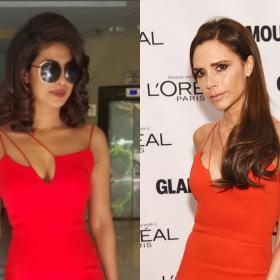victoria beckham,Faceoffs,priyanka chopra jonas,red dress