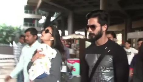 Spotted! Shahid Kapoor with Mira at Mumbai airport