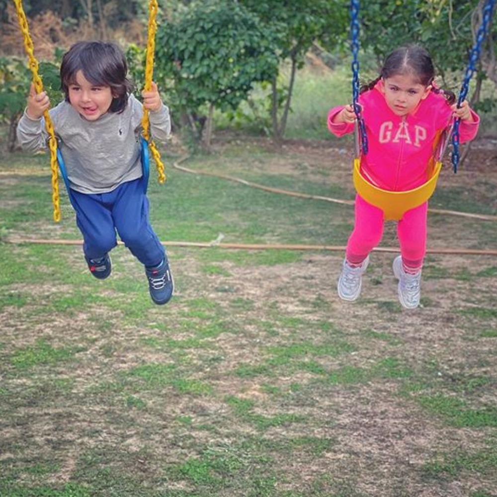 Taimur Ali Khan and Inaaya Naumi Kemmu's adorable photo as they enjoy a swing ride is bound to melt your heart